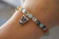 Bracelet Amazonite breloque chouette