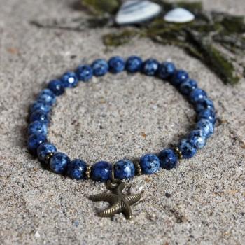 bracelet en agate bleu breloque bronze étoile de mer