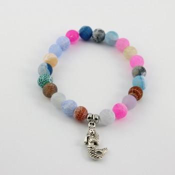 bracelet en agate breloque argent sirène