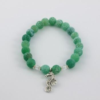 bracelet en agate bleu vert breloque hippocampe