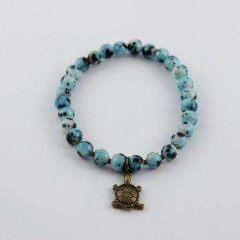 bracelet en agate bleu breloque bronze tortue