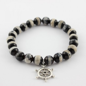 Bracelet en agate perles Dzi