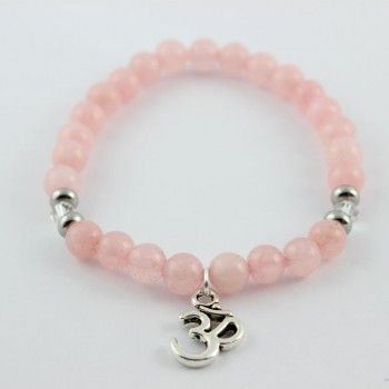 bracelet quartz rose breloque om