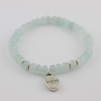 bracelet en agate bleu breloque inspire