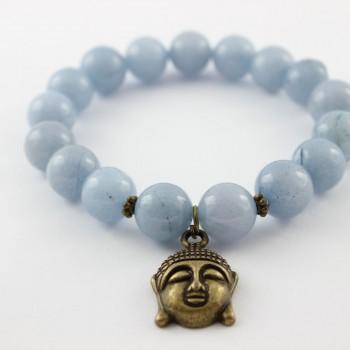bracelet aigue marine breloque bouddha