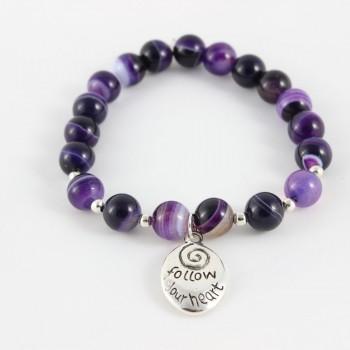 Bracelet violet en agate