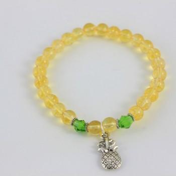 Bracelet en citrine breloque ananas