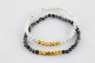 Bracelets en howlite et en obsidienne