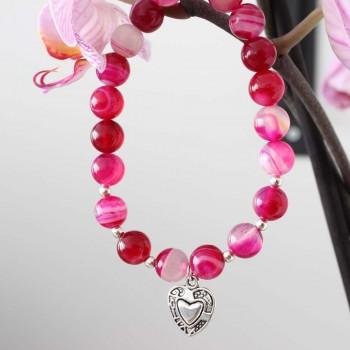 bracelet amour universel agate rose
