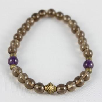 bracelet quartz fumé et améthyste