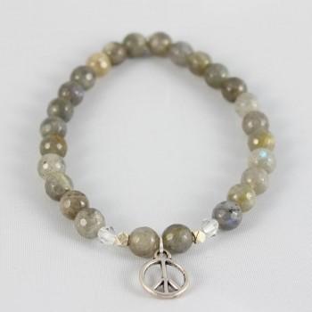 bracelet labradorite breloque peace