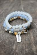 Trio de bracelets en jaspe ocean, aigue marine et jaspe blanche