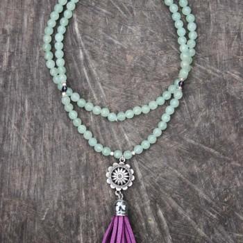 collier mala 108 perles en aventurine pompon mauve