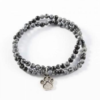 Bracelet en obsidienne flocons de neige breloque patte de chien