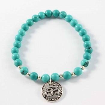 Bracelet Beeutiful OM en turquoise avec breloque signe OM