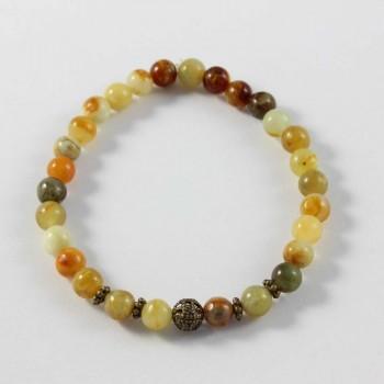 Bracelet Solaire en jade et perles bronze