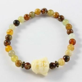 Bracelet en jade avec perle centrale happy bouddha