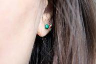Boucles d'oreilles malachite portées